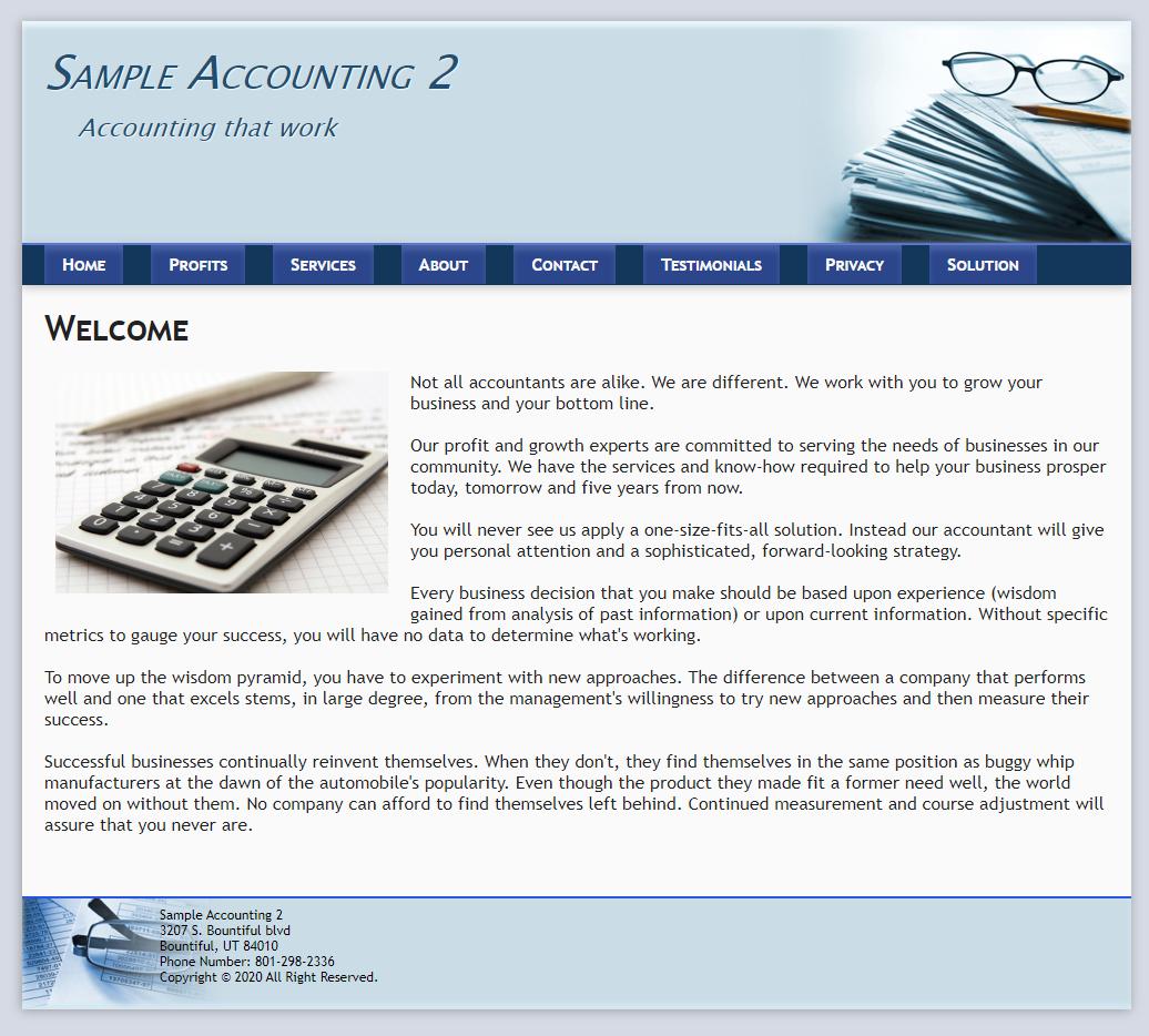 View sample website